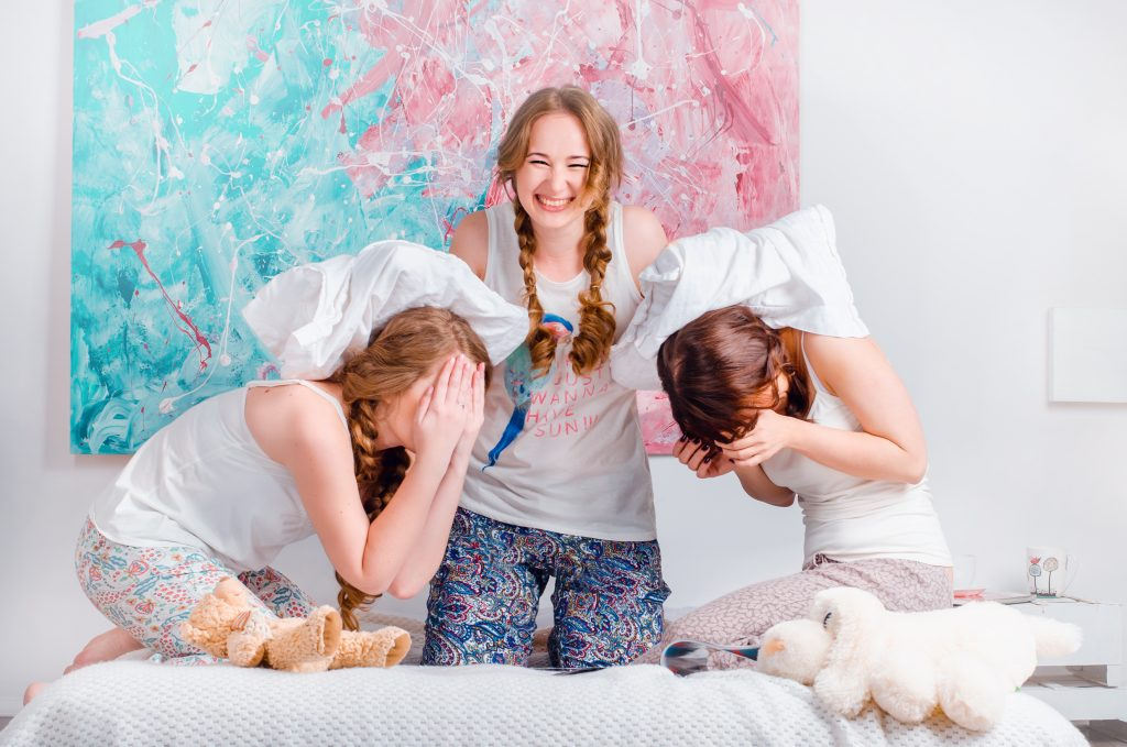 pillow fight, fun, sleepover, happy, home, friends