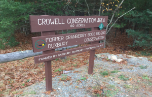 Crowell Conservation Area Sign for the 60 acre parcel of walking trails.